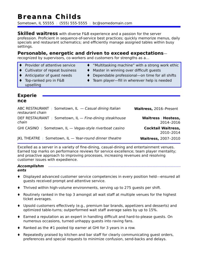 waitress resume sample monster good strengths for cna experience personal banker software Resume Good Strengths For Resume