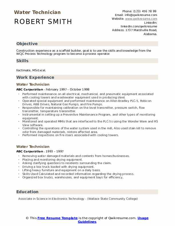 water technician resume samples qwikresume example pdf construction project engineer Resume Technician Resume Example