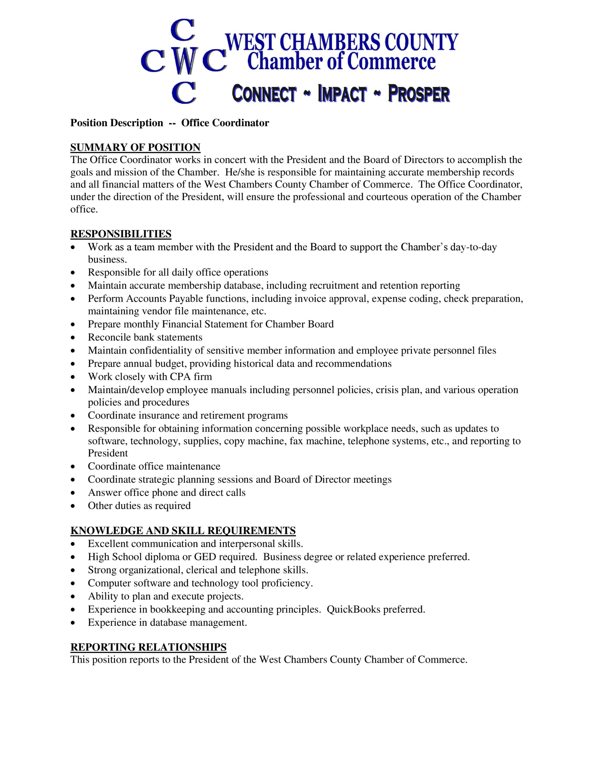 west county chamber of commerce looking for office coordinator old river winfree Resume Office Coordinator Job Description Resume