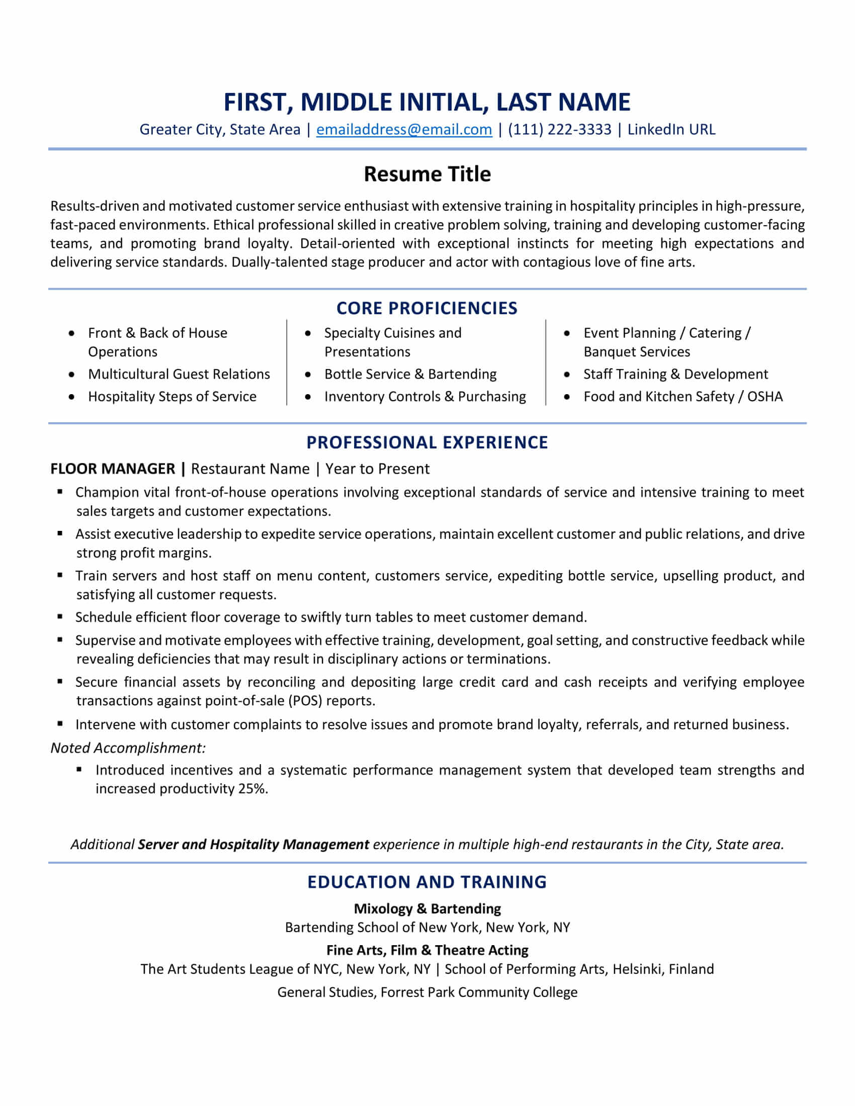 when to use one resume in example examples vs cv nursing cover letter font for federal Resume One Page Resume Examples