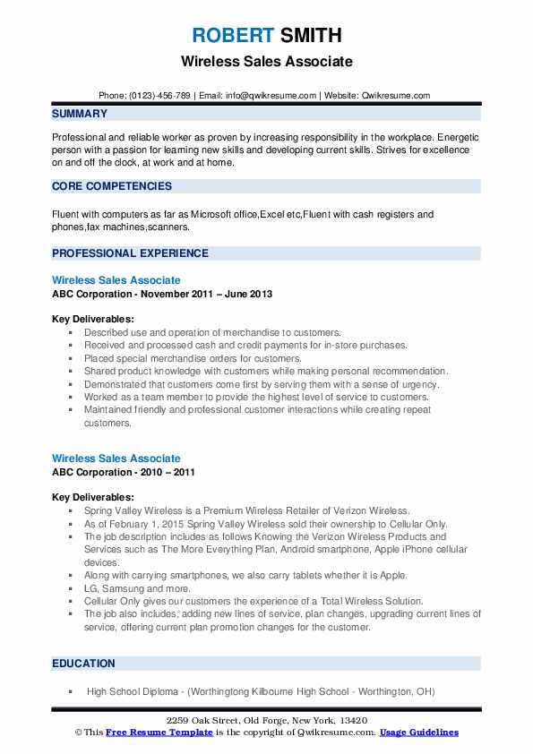 wireless associate resume samples qwikresume creating pdf usajobs government template Resume Creating A Sales Resume