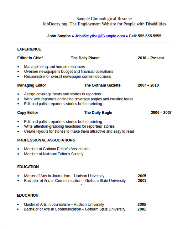 with chronological resume samples format template staffing recruiter examples Resume Chronological Resume Template
