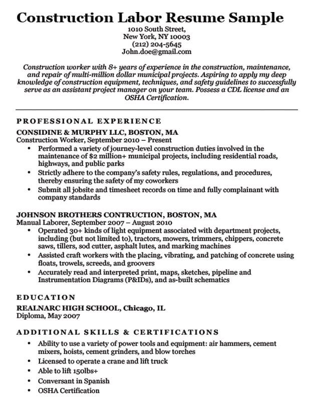 with concrete laborer resume format for construction job mcdonalds tpa coordinator cpr Resume Resume Format For Construction Job
