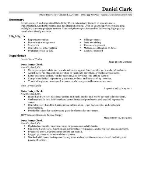with data entry job resume samples format for outline adjectives fashion retail sample Resume Resume For Data Entry Job