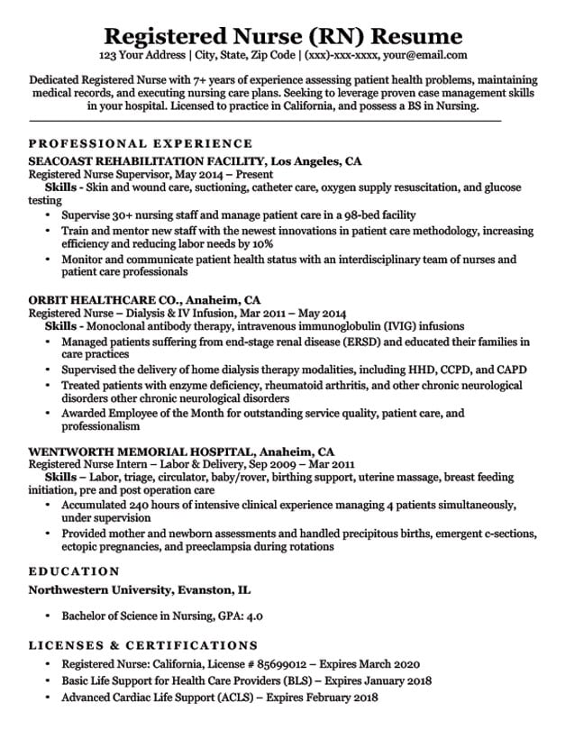 with registered nurse resume format for automotive technician search work history example Resume Resume Format For Registered Nurse