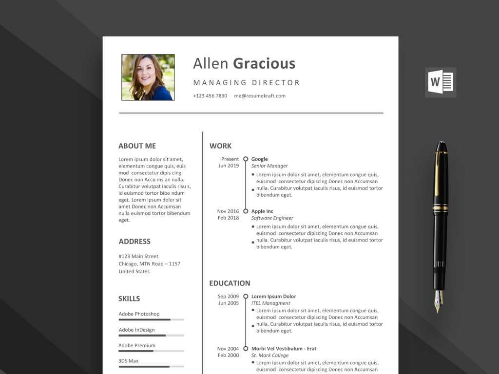 word resume template free daily mockup templates 1024x768 format color wordpress Resume Free Word Resume Templates 2020 Download