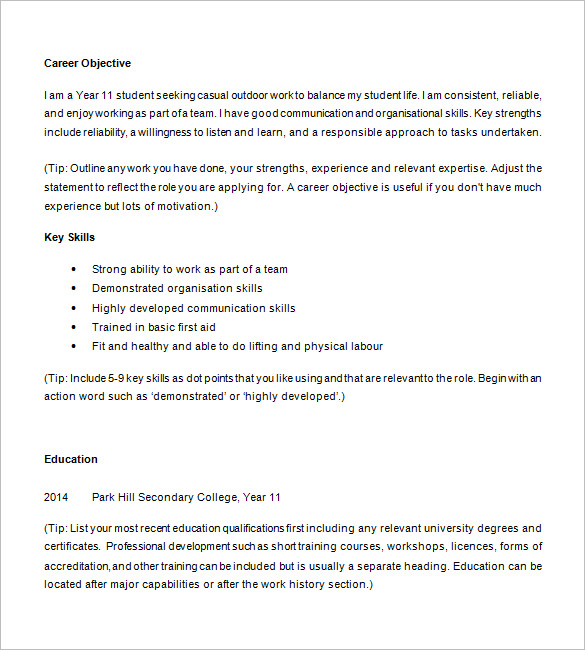 writing resume for highschool student sample resumes and templates high school examples Resume High School Student Resume Examples First Job