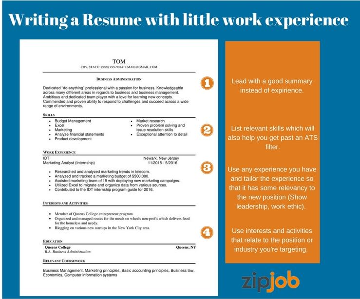 writing the perfect resume with little to no experience examples good summary for without Resume Good Summary For Resume With No Experience