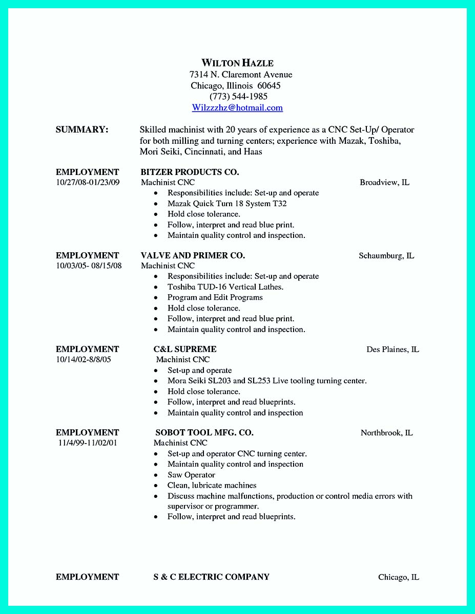 writing your qualifications in cnc machinist resume must for operator and programmer best Resume Resume For Cnc Operator And Programmer