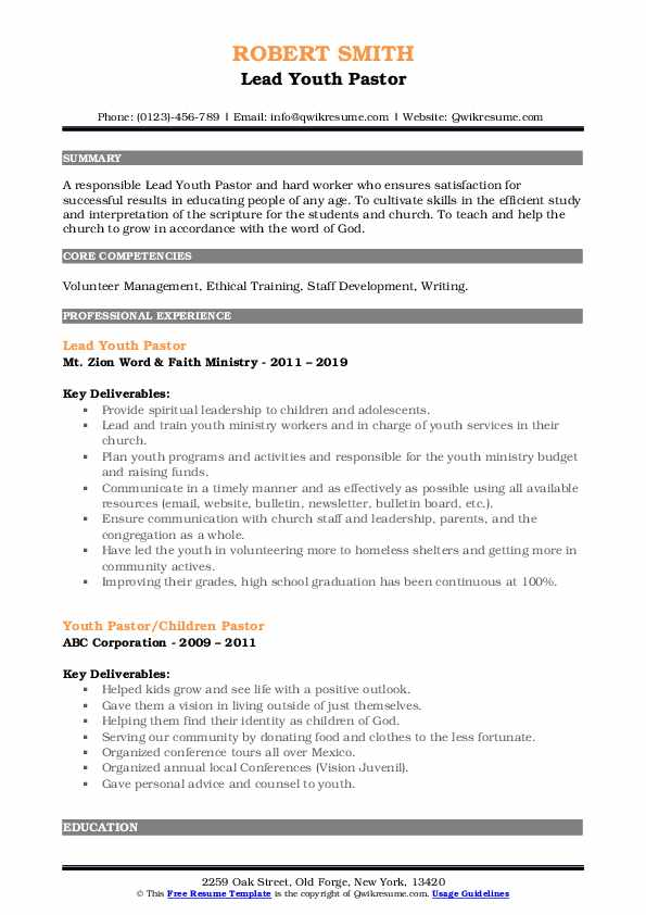 youth pastor resume samples qwikresume ministry templates for word pdf paypal template Resume Ministry Resume Templates For Word
