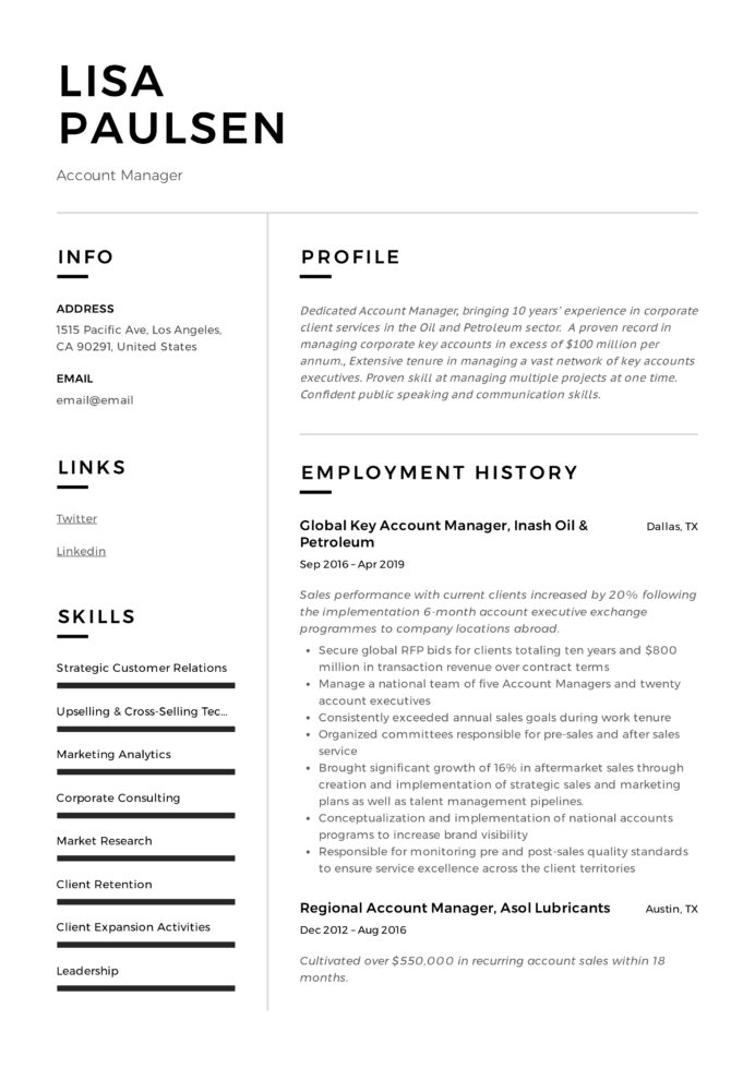 account manager resume writing guide examples accounts format lisa paulsen office Resume Accounts Manager Resume Format