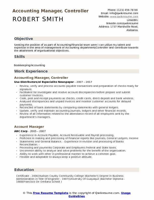 accounting manager controller resume samples qwikresume accounts format pdf pharmacist Resume Accounts Manager Resume Format
