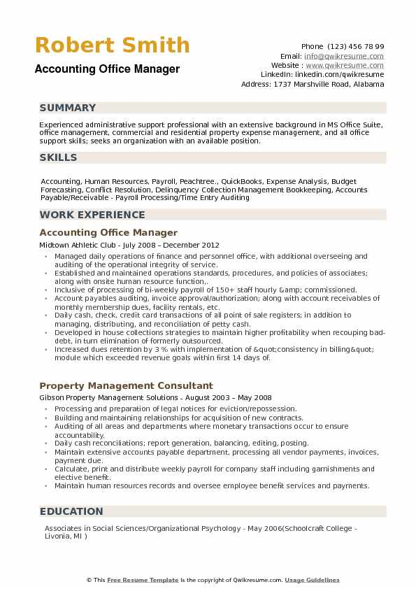 accounting office manager resume samples qwikresume summary for management position pdf Resume Resume Summary For Management Position