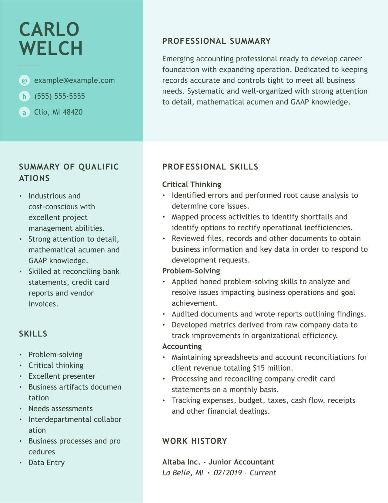 accounting resume examples and guides myperfectresume junioraccountant presales solution Resume Accounting Resume Examples 2020