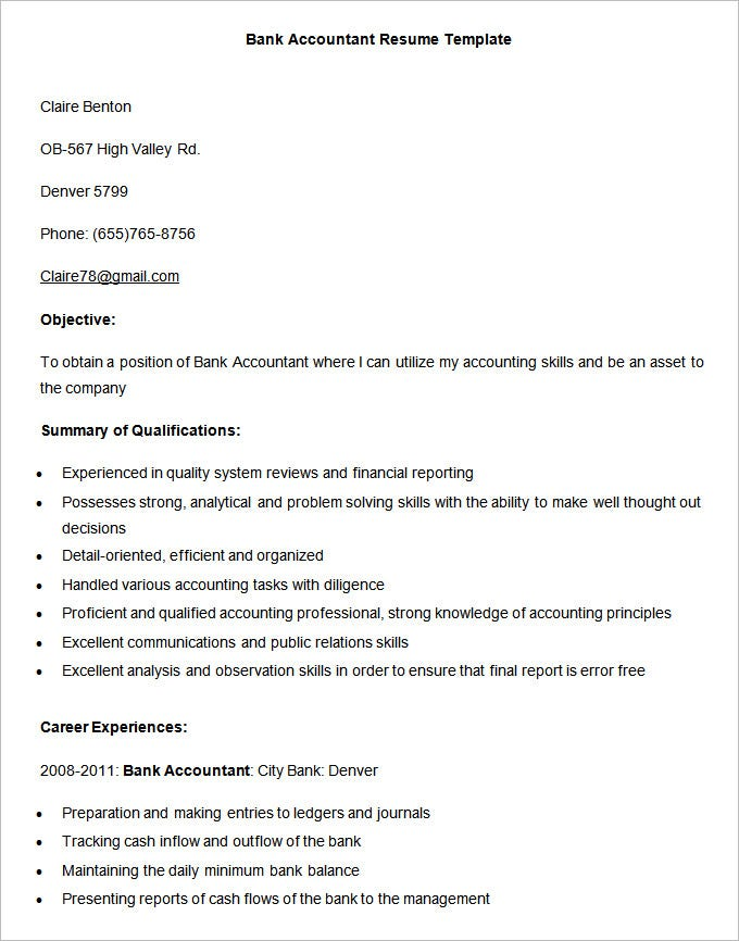 accounting resume templates pdf free premium examples bank accountant template best Resume Accounting Resume Examples 2020