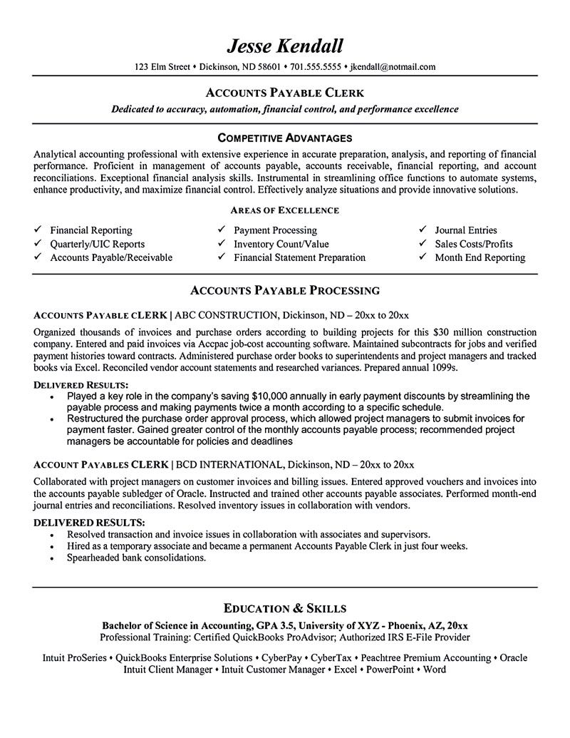 accounts payable manager resume sample for clerk cover letter elevator pitch examples Resume Accounts Payable Clerk Resume Cover Letter