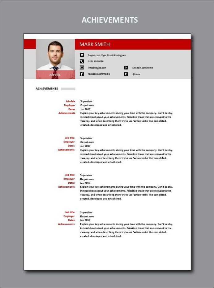 achievements cv template example goals ambitions ambition skills you can get the fully Resume Skills And Achievements For Resume