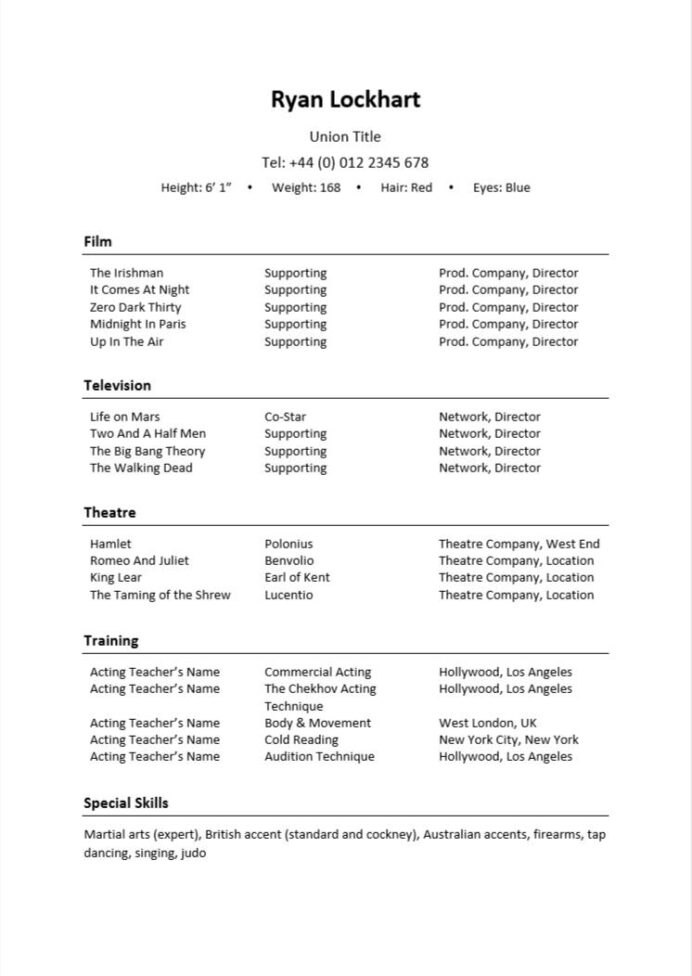 acting resume examples writing guide cv nation theatre template nail technician rooms Resume Technical Theatre Resume Template
