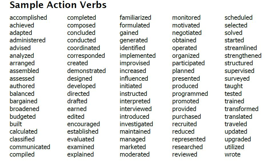 action verbs for middle school style strong resume sample ssis personal trainer format Resume Strong Action Verbs For Resume