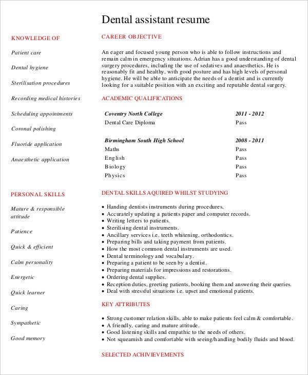 administration resume samples pdf free premium templates format for job dental assistant Resume Resume Format For Administration Job