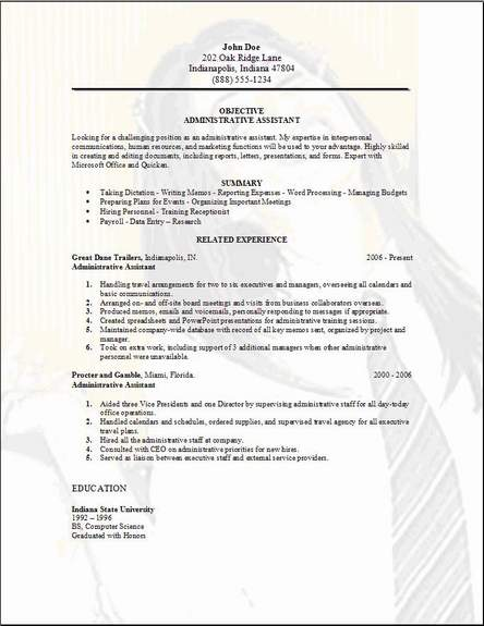 administrative assistant resume examples samples free edit with word format for resume3 Resume Resume Format For Administrative Assistant