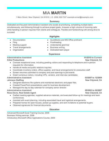 administrative assistant resume template for microsoft word livecareer format Resume Resume Format For Administrative Assistant