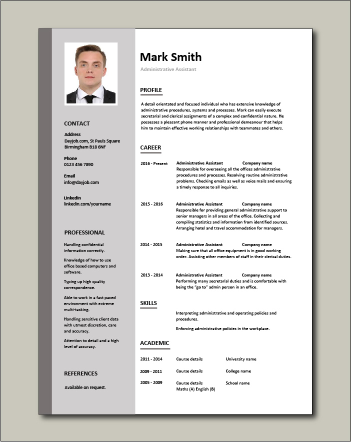 administrative assistant resume template format for free cv railway sample hair salon Resume Resume Format For Administrative Assistant