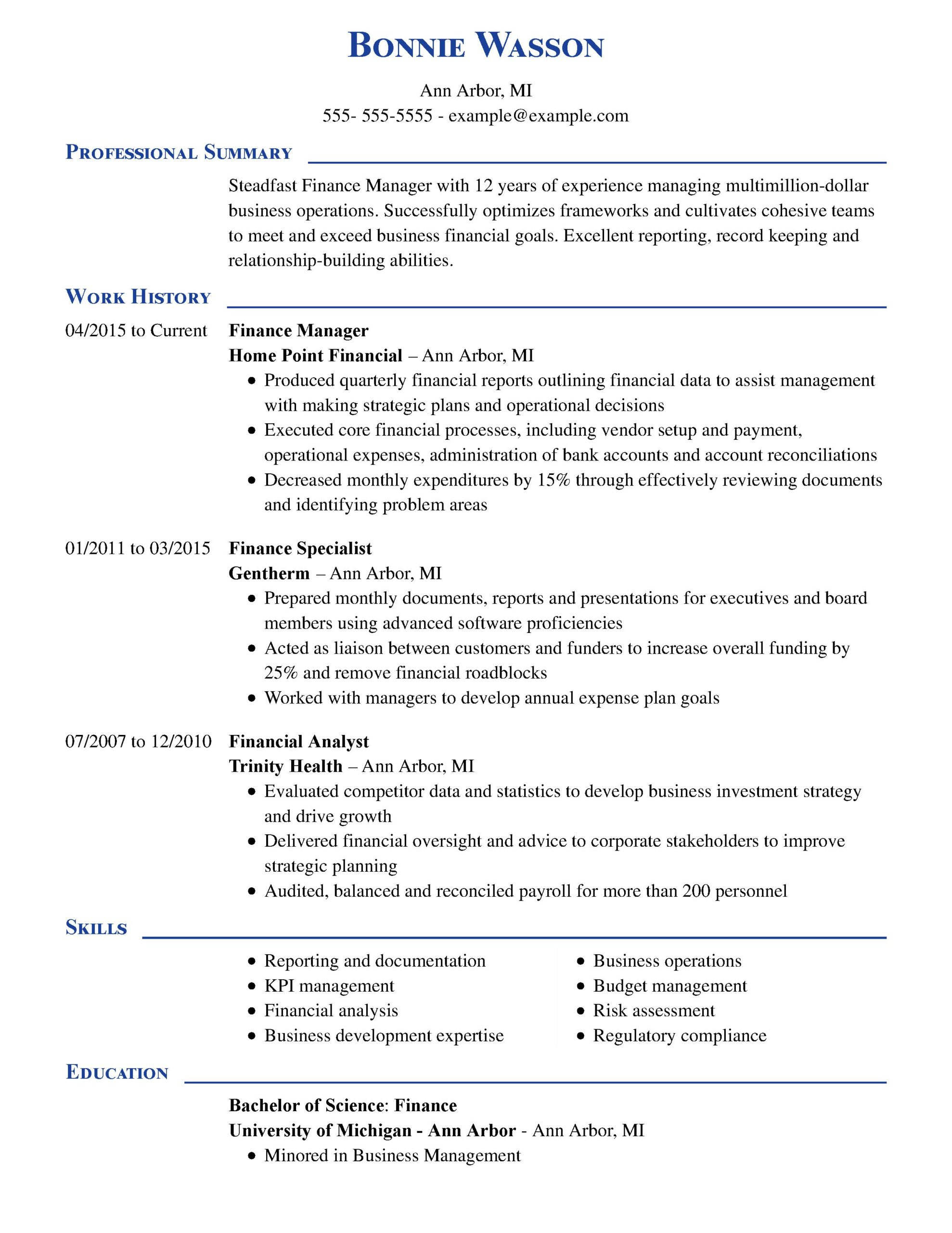 amazing finance resume examples livecareer for corporate job manager executive chrono Resume Resume For Corporate Job