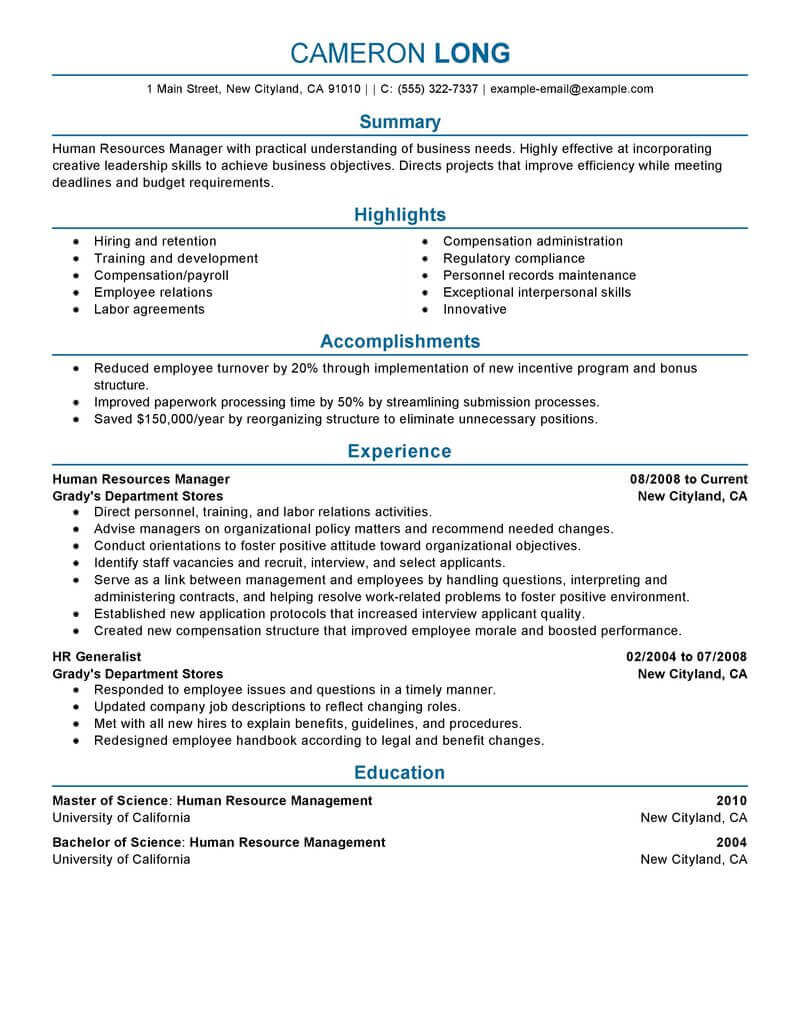 amazing human resources resume examples livecareer manager sample professional for first Resume Human Resources Manager Resume Sample