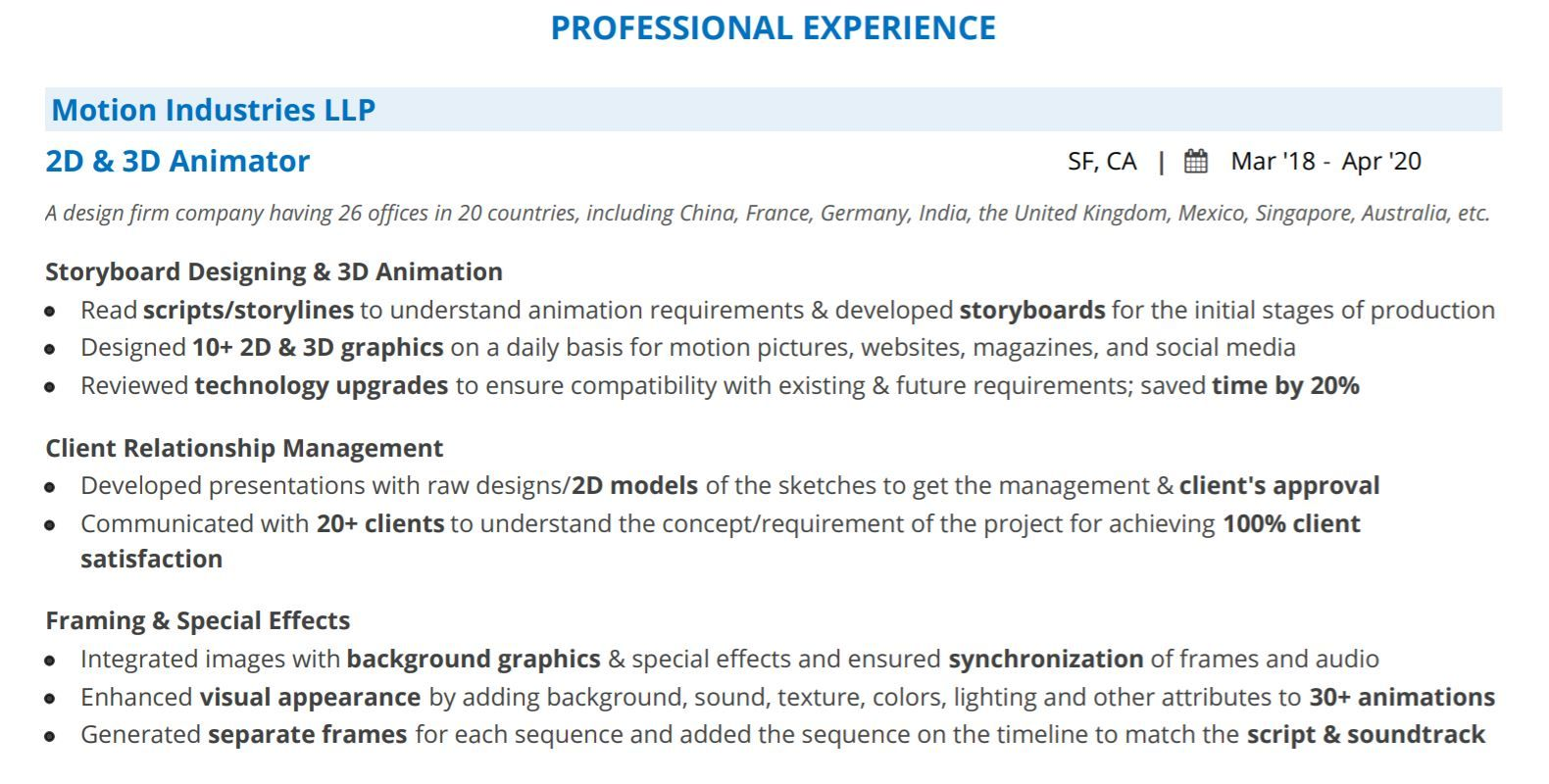animation resume the guide with samples for animator fresher professional experience Resume Resume For Animator Fresher