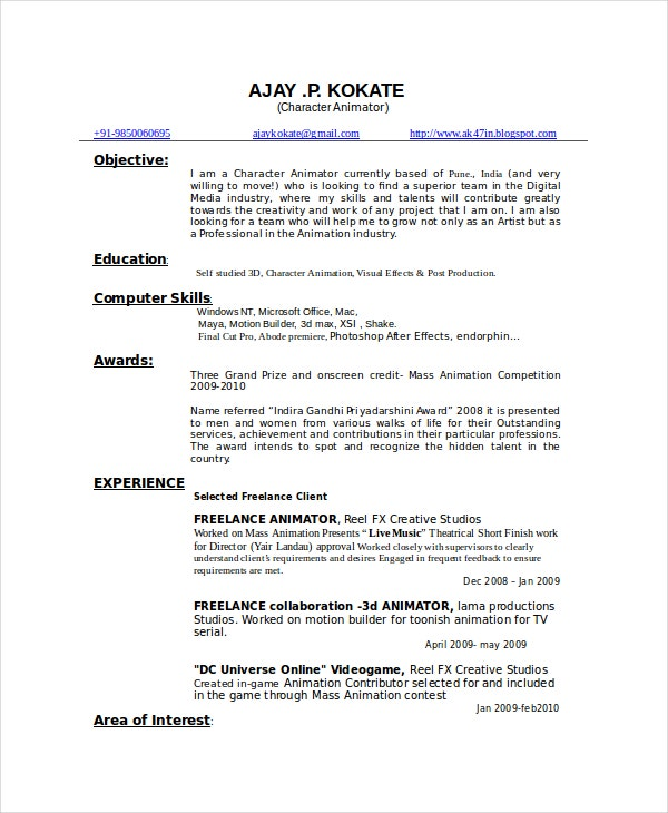animator resume template free word pdf documents premium templates for fresher character Resume Resume For Animator Fresher