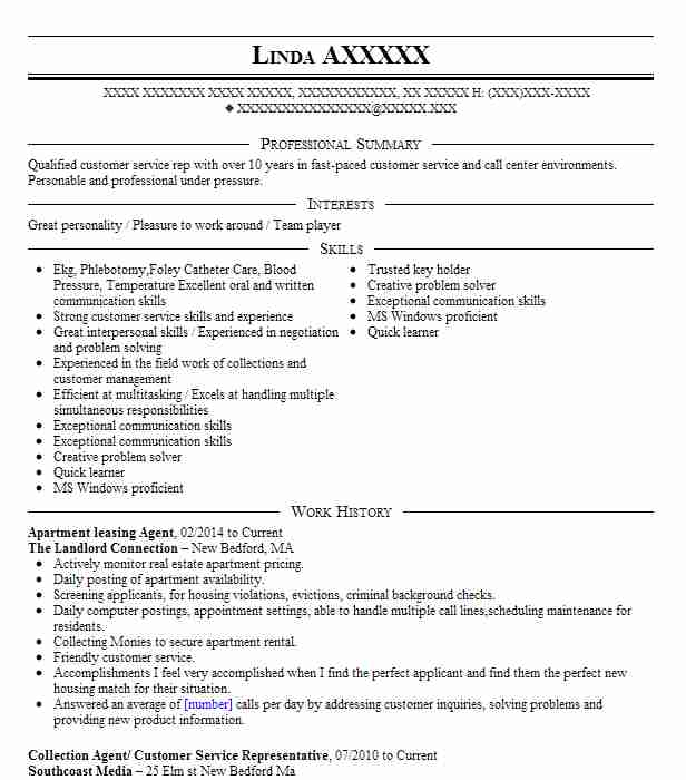 apartment leasing agent resume example resumes livecareer sample of educational Resume Leasing Agent Resume Sample