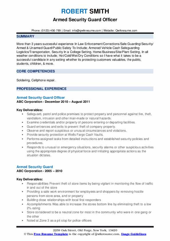 armed security guard resume samples qwikresume sample pdf residential construction Resume Security Guard Resume Sample