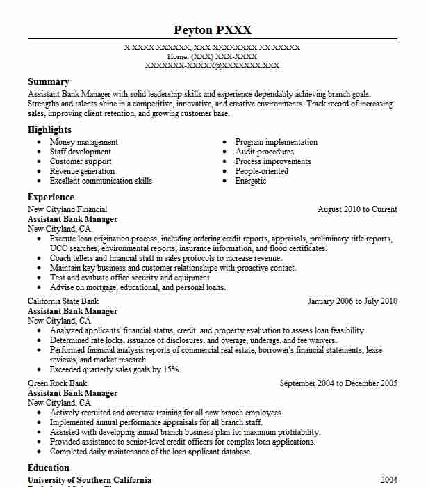 assistant bank manager resume example banking resumes livecareer sample executive tasks Resume Bank Manager Resume Sample