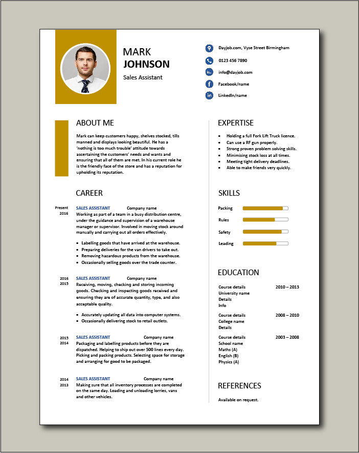 assistant cv example shop store resume retail curriculum vitae jobs template free direct Resume Retail Assistant Resume Template