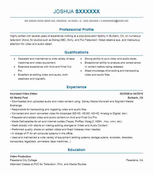 assistant editor resume example resumes livecareer template room attendant rating Resume Resume Template Video Editor