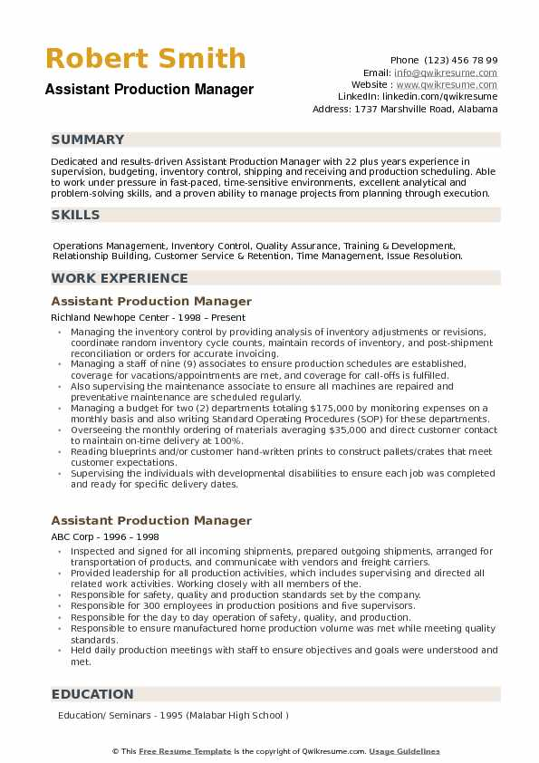 assistant production manager resume samples qwikresume pdf call center objective examples Resume Production Manager Resume