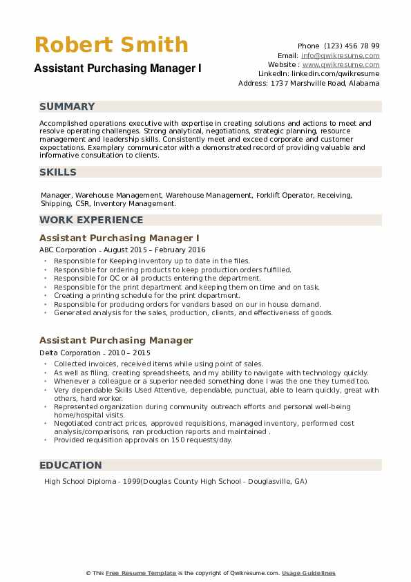 assistant purchasing manager resume samples qwikresume purchase sample pdf with years Resume Assistant Purchase Manager Resume Sample