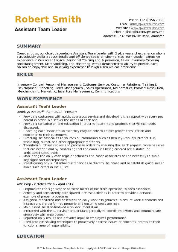 assistant team leader resume samples qwikresume pdf best ats format templates word Resume Team Leader Resume Samples
