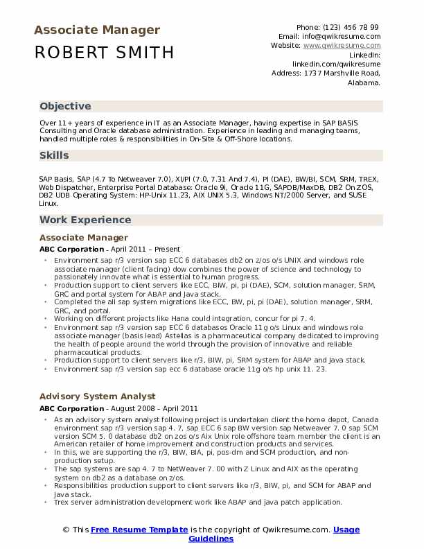 associate manager resume samples qwikresume sap basis for years experience pdf speech Resume Sap Basis Administrator Resume Sample