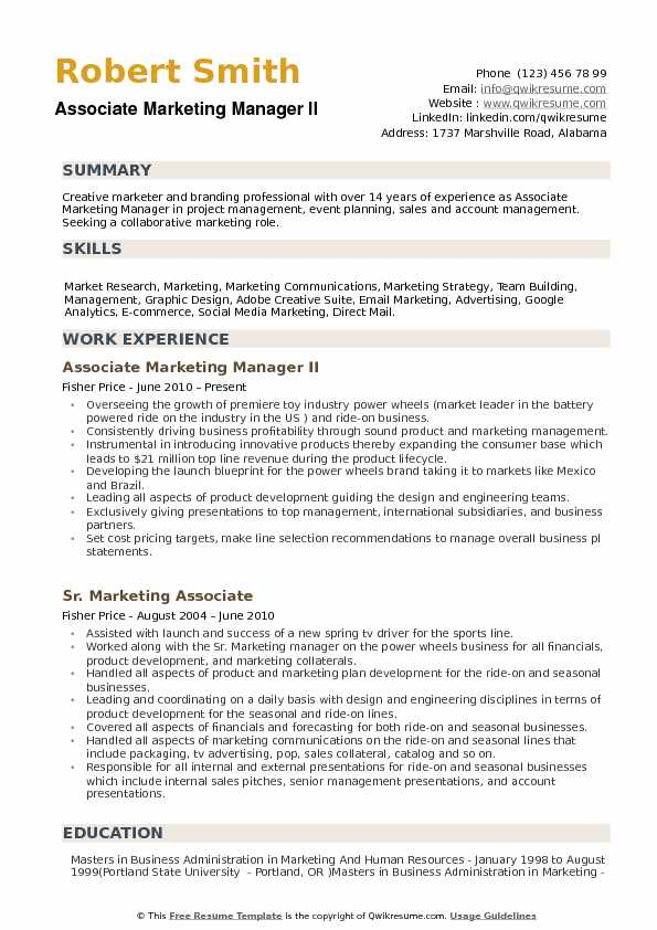associate marketing manager resume samples qwikresume description for pdf word templates Resume Marketing Manager Description For Resume