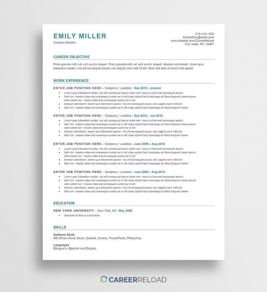 ats friendly resume template free word functional microsoft headline for biotechnology Resume Ats Friendly Resume Template Free 2020