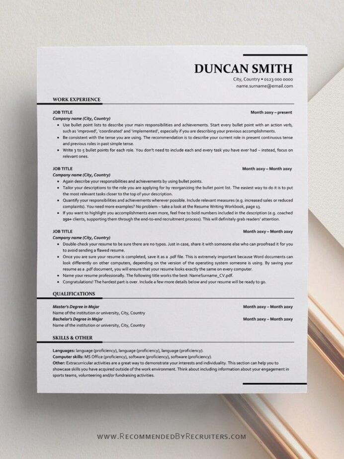 ats friendly resume template instant one and two etsy design free word objective for Resume Ats Friendly Resume Template Free 2020