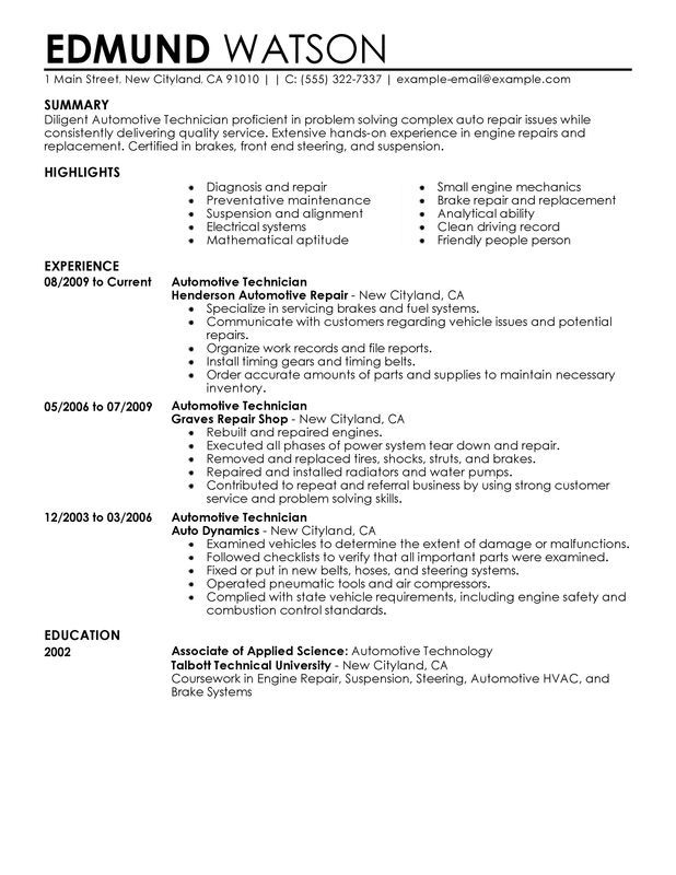 automotive technician resume sample my perfect engineering examples pdf official example Resume Automotive Technician Resume Pdf