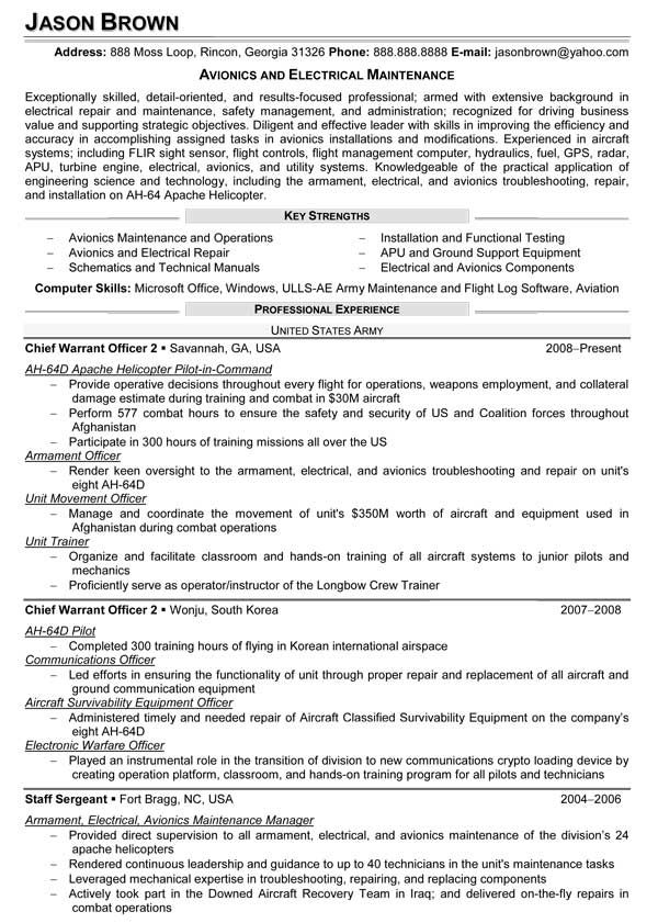avionics and electrical maintenance resume sample examples cover letter for objective icu Resume Avionics Resume Objective