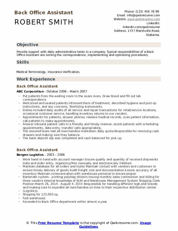 back office assistant resume samples qwikresume experience pdf best free maker emergency Resume Office Experience Resume