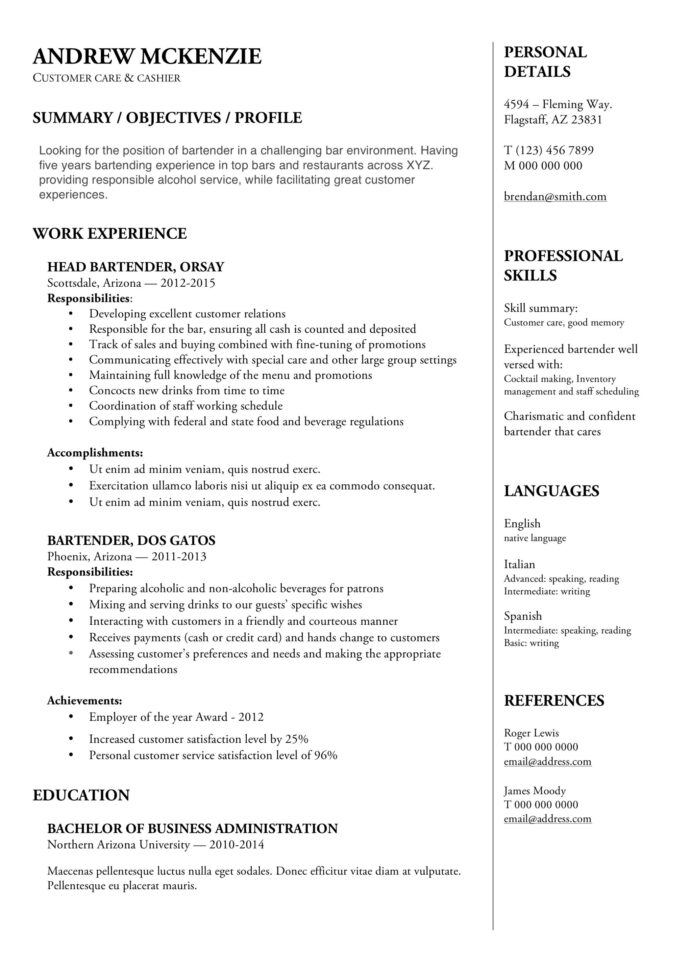 bartender resume guide example downloads pdf word free templates sample great and cover Resume Free Bartender Resume Templates