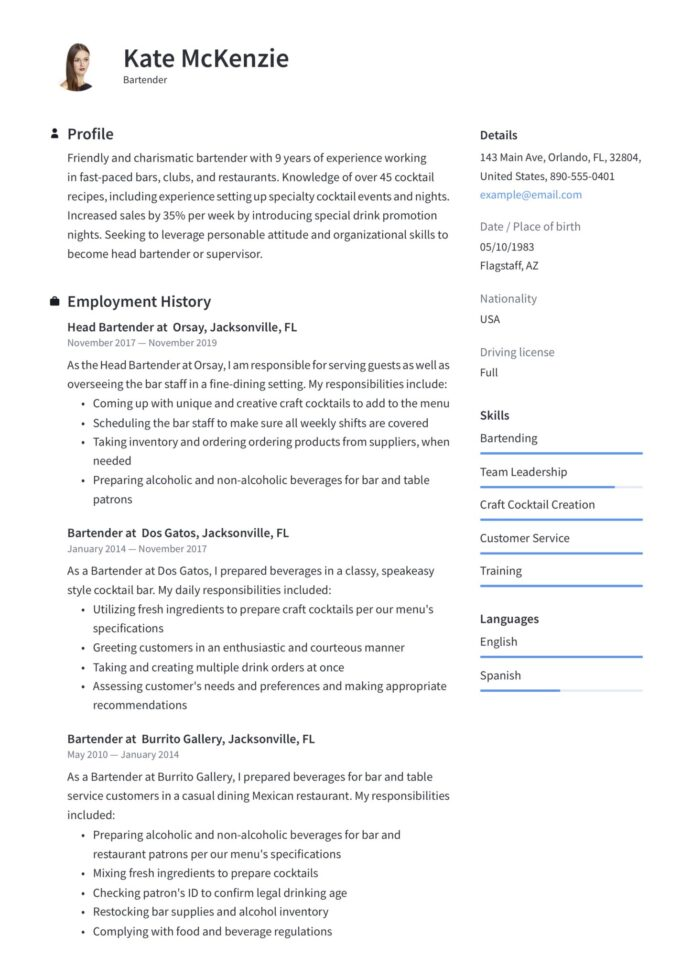 bartender resume guide example downloads pdf word free templates template scaled cash Resume Free Bartender Resume Templates