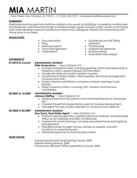 best admin resume examples templates from our writing service for administrative position Resume Resume Format For Administration Job