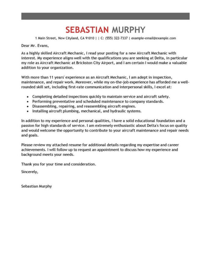 best aircraft mechanic cover letter examples livecareer avionics resume objective Resume Avionics Resume Objective